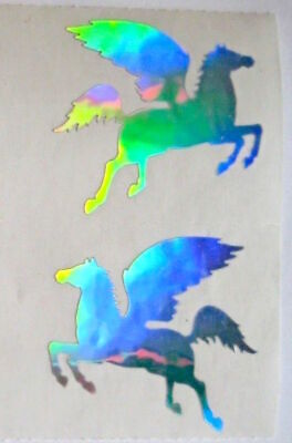 Vintage Mrs Grossman Pegasus Foil Mylar Hologram Sticker Strip