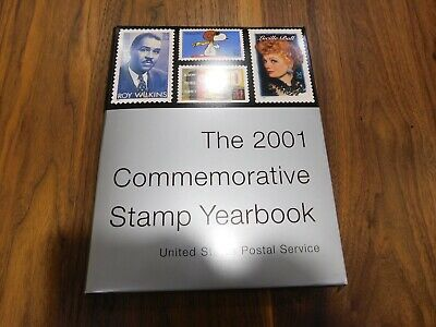 USPS 2001 Stamp Yearbook w/ Sealed Stamps & Mounts in Slipcover