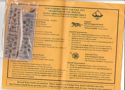 Swarovski SILVER CRYSTAL INTRODUCTION SHEET FALL 1997 WITH PRICE STANDS  ..