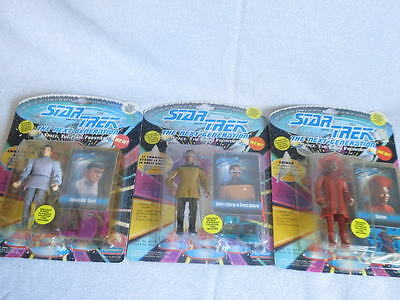 Star Trek The Next Generation Lot of 3 Action Figures, Unopened, Unpunched