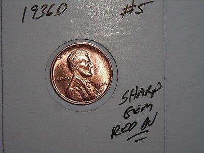 wheat penny 1936D GEM RED BU 1936-D LOT #5 LINCOLN CENT UNC SHARP RED LUSTER