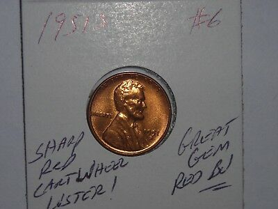 wheat penny 1951S LINCOLN CENT GEM RED BU 1951-S LOT #6  SHARP RED UNC LUSTER