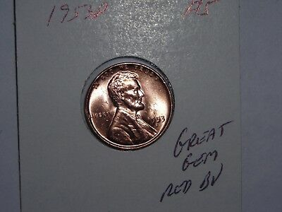 wheat penny 1953D LINCOLN CENT 1953D GEM RED BU LOT #5 UNC SHARP RED LUSTER