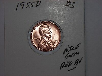 wheat penny 1955D NICE GEM RED BU 1955-D LINCOLN CENT LOT #3 UNC RED LUSTER