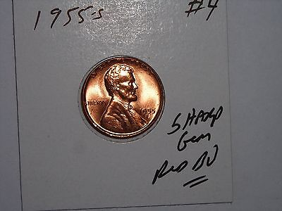 wheat penny 1955S SHARP GEM RED BU LINCOLN CENT 1955-S GEM UNC FREE S/H LOT #4