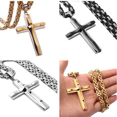 Hot Men Stainless Steel Cross Pendant Gold Silver Black Necklace Byzantine Chain