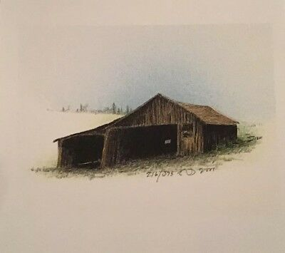 Russell Chatham Original Signed #'d Old Barn Farm Building Shed Lithograph Art