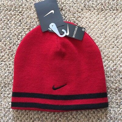 067acd4ec7c Nike Knit Winter Beanie Reversible Hat Red Black Boys Youth Size 8 20  9A2047-