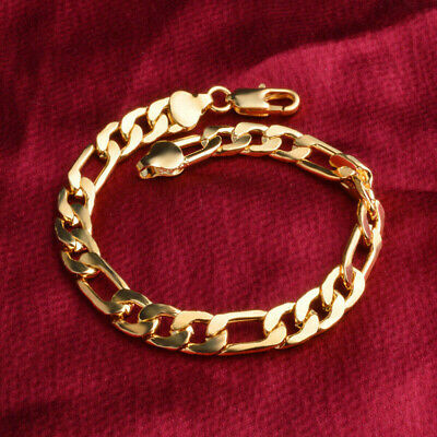 Noble 8mm 18K Gold Plated Chain Bracelet Fashion Male Curb Cuban Link Jewelry