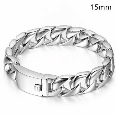 Polished Heavy Men's Silver Tone Stainless Steel Curb Chain Bracelet Link Bangle