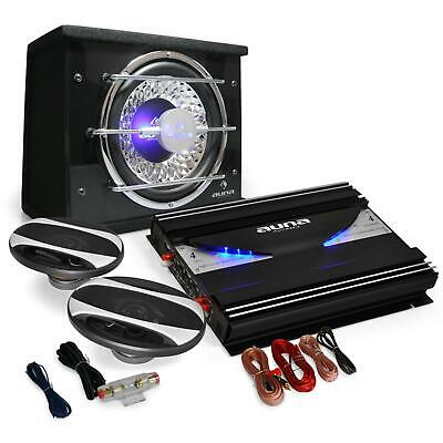 Pack Audio Coche Tuning 2800W Subwoofer Etapa Potencia Altavoces Cables Led Amp