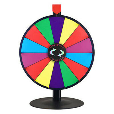 """18"""" Prize Wheel 14 Slots Tabletop Color Dry Erase  Fortune Spinning Game"""