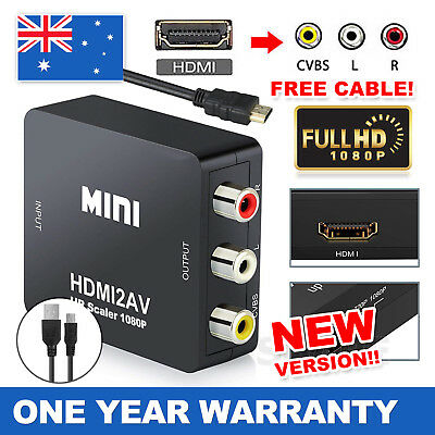 HDMI to RCA Adapter AV 3RCA CVBS Video Cable Converter 1080p Downscaling AU