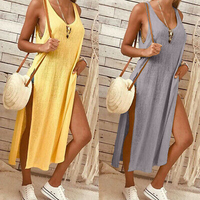 Women Summer Sexy Low Cut Solid Color Split Sleeveless Loose Dress Large Size Z