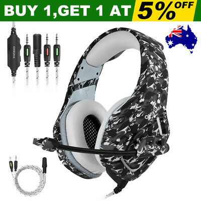 ONIKUMA K1 Stereo Bass Surround Gaming Headset for Laptop Xbox One PS4 Camo Grey