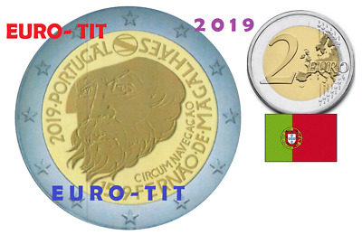 2 €   PORTUGAL   COMMEMORATIVE 2  X  PIECE    MAGELLAN  NOUVEAU  2019 disponible