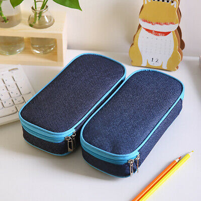 School Pencil Case Bag Large Capacity Canvas Pen Box Stationery Supplies