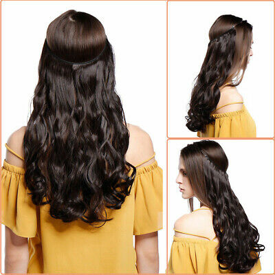 Women's Curly Wavy Straight Hair Extensions Stretch Wire Hairpieces Party Dress