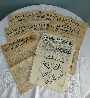 Antique Embroidery Magazines French La Broderie Blanche Patterns Whitework x 9 B