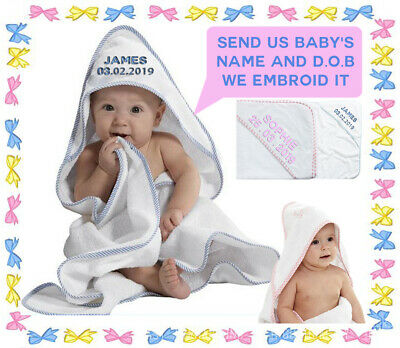 New Born Embroided Personalised Gift Christening Baby Hooded Towel ANY NAME DOB