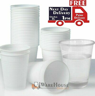 3000 Clear/White Plastic Cups Disposable Drink Cups Water Cups 180ml / 7oz