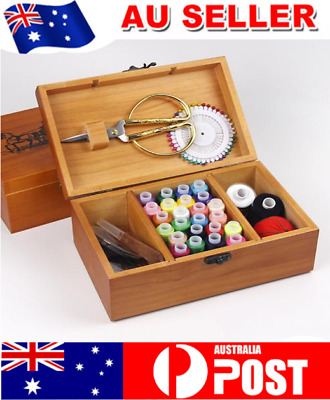 Travel Sewing Box Kit Storage Needle Thread Wooden Scissor Measure Sewing Tool