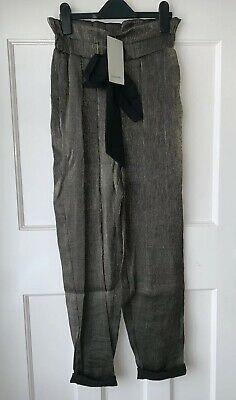 7bef1bc0 Zara Aged Gold Shimmer Paper-Bag Waist Trousers With Bow Size Xs Bnwt