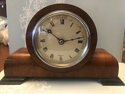 ELLIOTT  MANTLE CLOCK ART DECO Round Faced Goes And Stops Lovely Wood Treen Rare