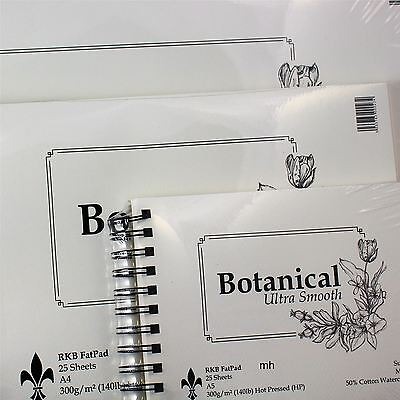 Botanical Hot Press Watercolour paper pad 300gsm 50% cotton Ultra Smooth A3 A4