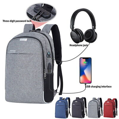 Mens Anti-theft Backpack Laptop Notebook Travel School Bag USB with Charger Port