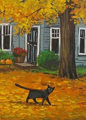 ACEO PRINT OF PAINTING RYTA BLACK CAT LANDSCAPE HALLOWEEN AUTUMN MILL ART RUSTIC