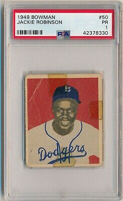 Jackie Robinson 1949 Bowman #50 Graded PSA 1 Pr Brooklyn Dodgers Hof