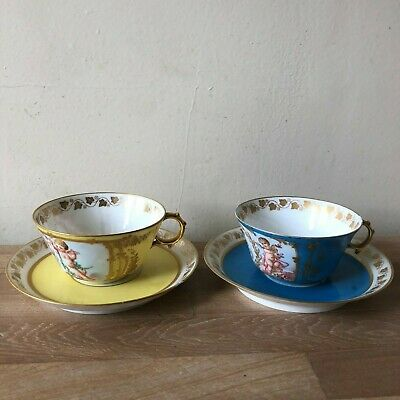 Lovely Pair Sevres Louis Phillipe Cups & Saucers