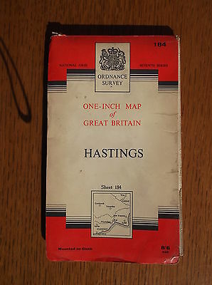 HASTINGS NATIONAL GRID ORDNANCE SURVEY MOUNTED ON CLOTH MAP SEVENTH SERIES c1959