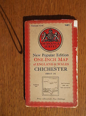 National Grid Ordnance Survey  1945 Chichester One-Inch Cloth Map Sheet 181