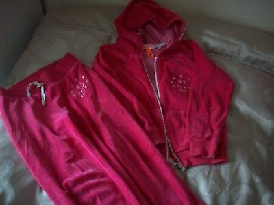Next Pink Velour Tracksuit Hoodie Jogging Bottoms Age 6