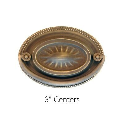 """Antiqued Brass Drawer Pull Queen Anne Drawer Pull Style - 2-1/2"""" CC Hepplewhite"""