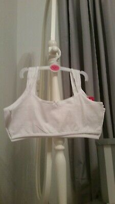 5 x Girls White Crop Top First Bra Underwear Age 13-14 years