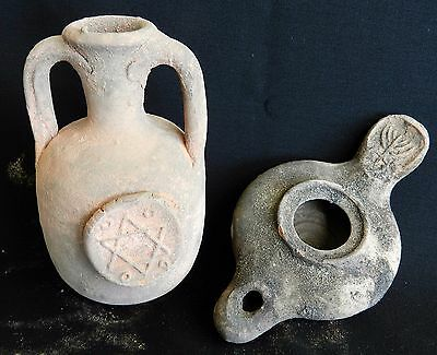 Set Ancient HolyLand Roman Jug Pitcher Oil Lamp Terracotta Pottery Clay Menorah