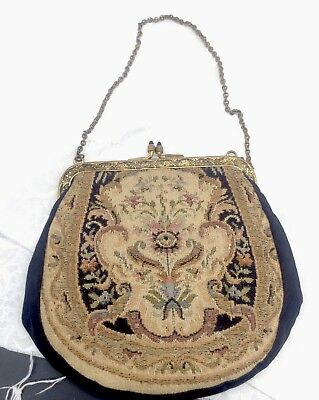 Antique Baroque Italian French Style Stitched Clasp Purse w/ Chain Vintage Gold