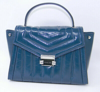 3e26110df9d4 Michael Kors Whitney Luxe Teal Blue Quilted Leather Top Handle Medium  Satchel
