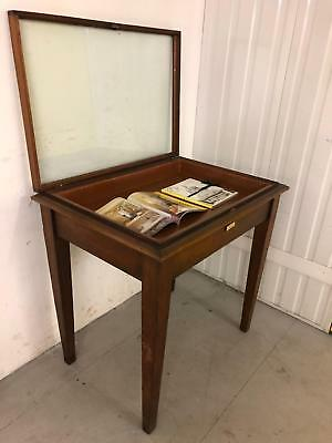 Old Museum Freestanding Display Cabinet Exhibition Showcase Crabwood or Mahogany