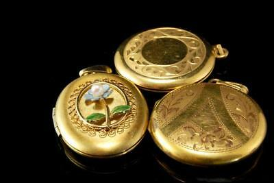 3 Old Collection Of Gold Filled Engraved Flower Lockets A68544