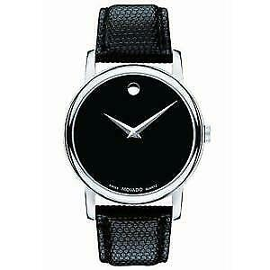 NEW MOVADO Museum 2100002 Silver Classic Black Dial Leather Wrist Men's Watch