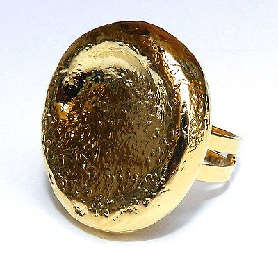 Yellow Gold 24k Plated Hammered Effect Ring Handcrafted Round Shape