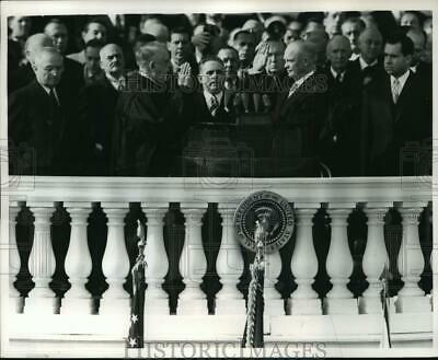 1968 Press Photo President Dwight D. Eisenhower Takes Oath at Inaugural Stand