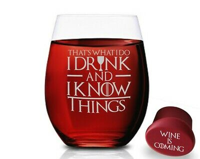 Game Of Thrones Wine Glasses - I Drink And I Know Things - Stemless 15 OZ