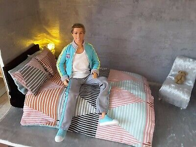 Barbie doll 1/6 scale size bedding set for ken dolls diorama