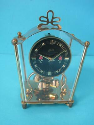 Schatz Carriage Clock Beautiful Condition Rare Roses On Black Face Not Working