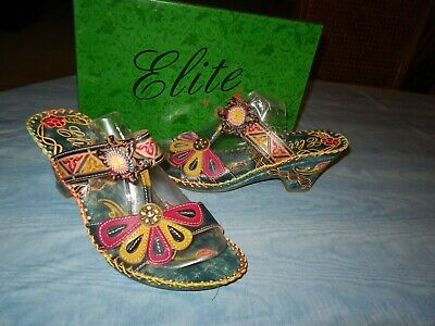 0d389a493 ELITE by Corkys Jamaica Womens Leather Hand Painted Demi Heel Flower  Sandals 9M